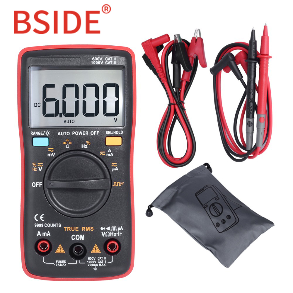 цена BSIDE ZT109 Professional And Practical Ture RMS Digital Multimeter 9999 Counts Backlight AC/DC Ammeter Voltmeter Ohm Meter RM109