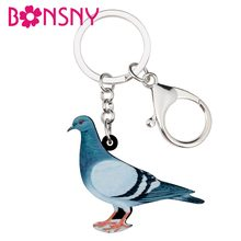 Bonsny Acrylic Cartoon Blue Pigeon Bird Key Chains Keychains Holder Rings Animal Jewelry For Women Girls Bag Car Pendant Charms(China)