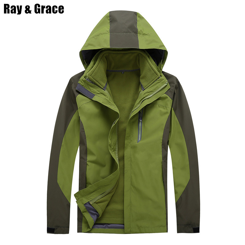 RAY GRACE Waterproof Sport Coat Women Men Fleece Liner Jacket Outdoor Hiking Camping Fishing Hunting Clothes Lovers Winer Jacket improved quality spring balancer for hanging wrench screwdriver tools not include the custom tax
