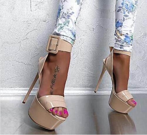 Newest Hot Sale Fashion Young Women Shoes Ankle Strap Peep Toe High-heel Size 10 Buckle High Platform Shoes Nude High Heels hot sale big size 32 44 fashion spring autumn women shoes sexy solid pu leather platform ankle strap high heels augz 958