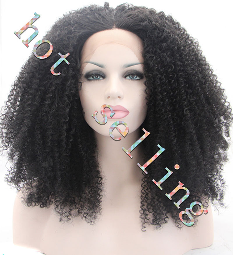 ФОТО hot sales Europe style afro kinky curly black lace front wig synthetic hair 180%density heat resistant wigs free shipping