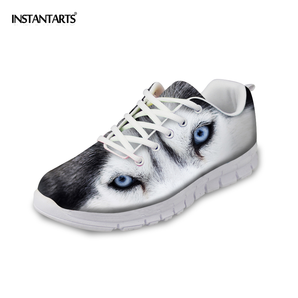 INSTANTARTS Cute Animal Husky Cat Head Print Women Fashion Flats Shoes Air Mesh Sneakers for Ladies Lace Up Light Weight Shoes instantarts casual women s flats shoes emoji face puzzle pattern ladies lace up sneakers female lightweight mess fashion flats