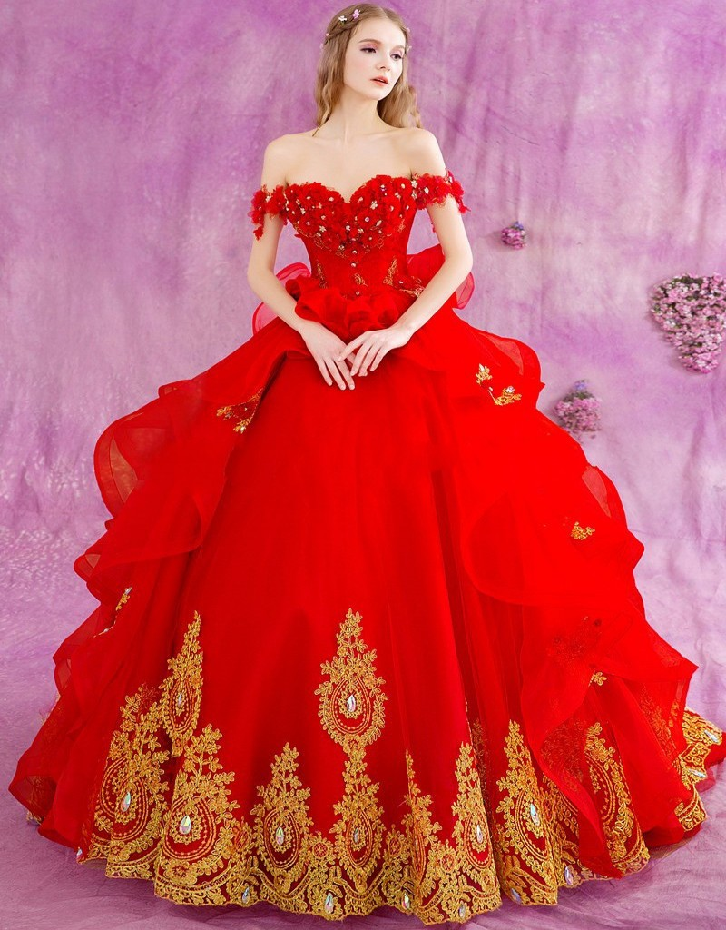 Ball Gown Princess Red Wedding Dresses Long 2016 Gothic Gold Lace