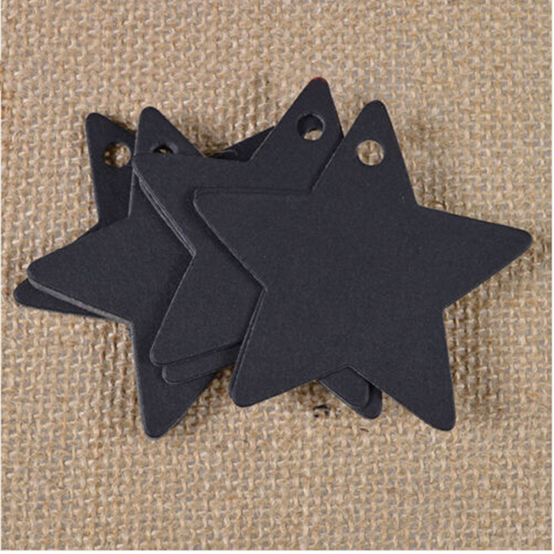 New 100Pcs Black Star Kraft Paper Label Price Tags Wedding Christmas Halloween Party Favor Gift Card Luggage Tags Decoration