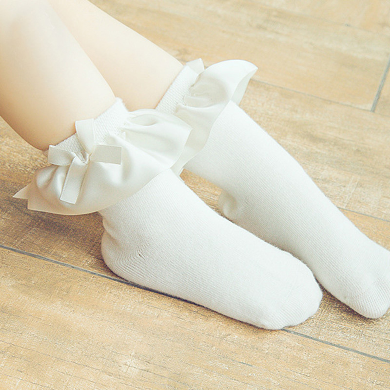 Stylish Kids Baby Girl White Butterfly Lace Socks Soft Cotton Sweat Tights in US