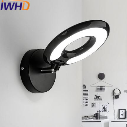 IWHD Modern Wall Light LED For Home Lighting Fixtures Creative Ring Wall Lamp White Black Sconce Bedroom Lamparas de pared concise style modern wall light lamp led for home lighting wall sconce arandela lamparas de pared