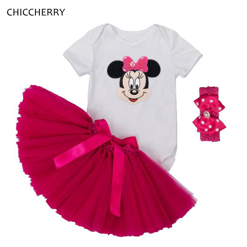 Fantasia Minnie Tutu Birthday Outfit Pink Lace Skirt Bodysuit Headband Newborn Tutu Sets Baby Girl Clothes Vetement Bebe Fille fashion newborn baby girl clothes short romper tutu skirt