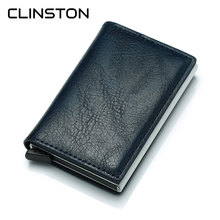 RFID Brand Leather Credit Card Holder Male Automatic Aluminum Alloy Hasp Man Bus