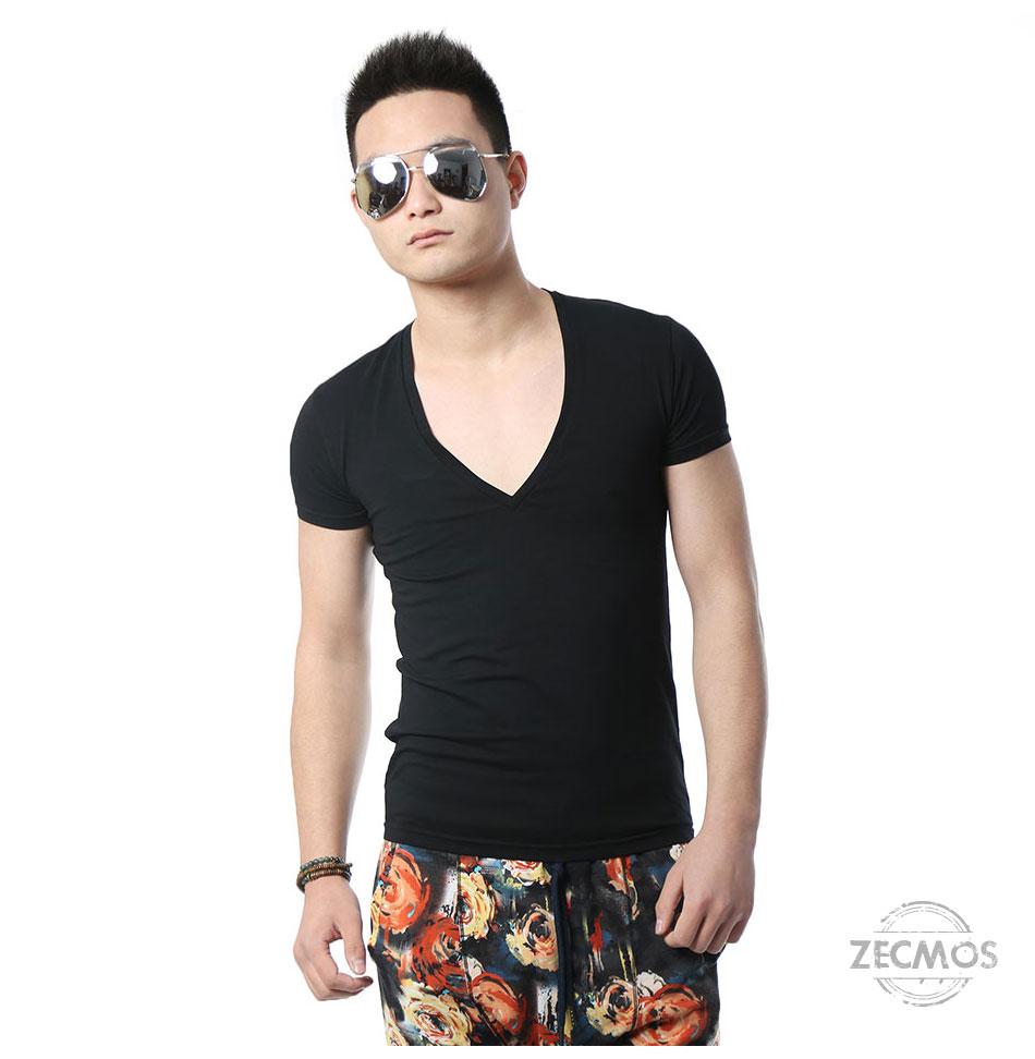 Zecmos Deep V Neck Sexy Men T-Shirt Vintage Short Sleeve Solid Color Muscle Fit T Shirt Men Top Tees Fashion 12
