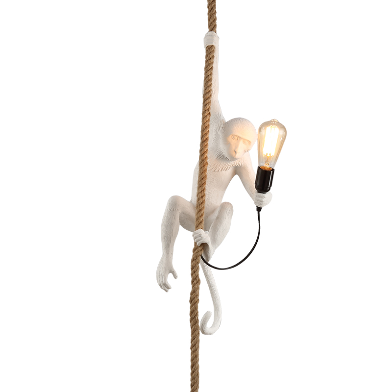 Pendant Lights Resin Monkey suspension luminaire Loft Hemp Rope Pendant Light for Home Lighting Bar Cafe Hanging Edison lamp modern creative design resin monkey loft vintage hemp rope pendant lights for home lighting bar cafe retro hanging pendant lamp