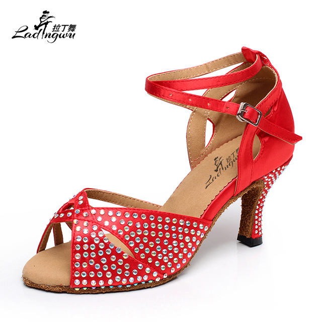 Ladingwu Shine Rhinestones  Women Latin Ballroom Dance Shoes Soft Bottom Salsa Sandals tango samba Dance Shoes Color Red