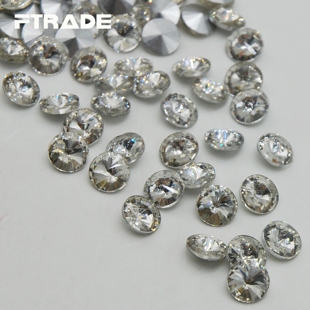 Top Quality Crystal Clear Color Rivoli Rhinestones Stone Point Back Glass  Stone For Jewelry Making 8mm 8afafc70be5b