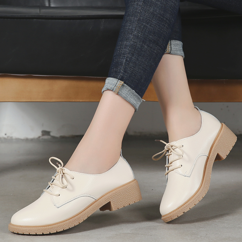 Image 3 - OUKAHUI Autumn New Fashion Small Size 33 41 British Style Oxford Shoes For Women Genuine Leather Square Heel 3.5cm Casual Shoes-in Women's Flats from Shoes