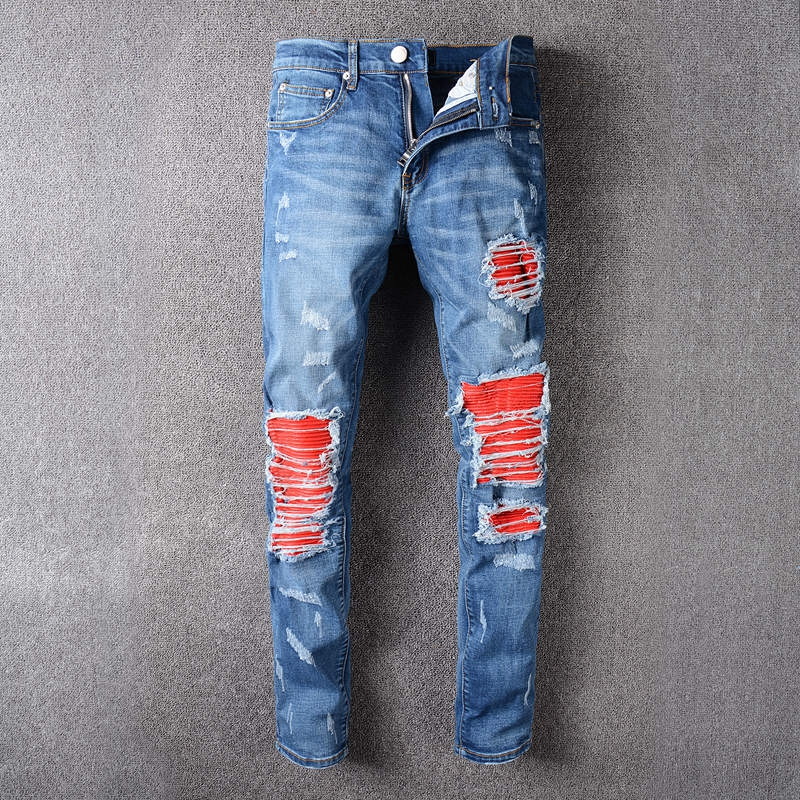 Mens Fashion Brand Designer Ripped Biker Jeans Men Distressed Moto Denim Joggers Destroyed Knee Red Leather Pleated Patch Jeans 2017 fashion patch jeans men slim straight denim jeans ripped trousers new famous brand biker jeans logo mens zipper jeans 604