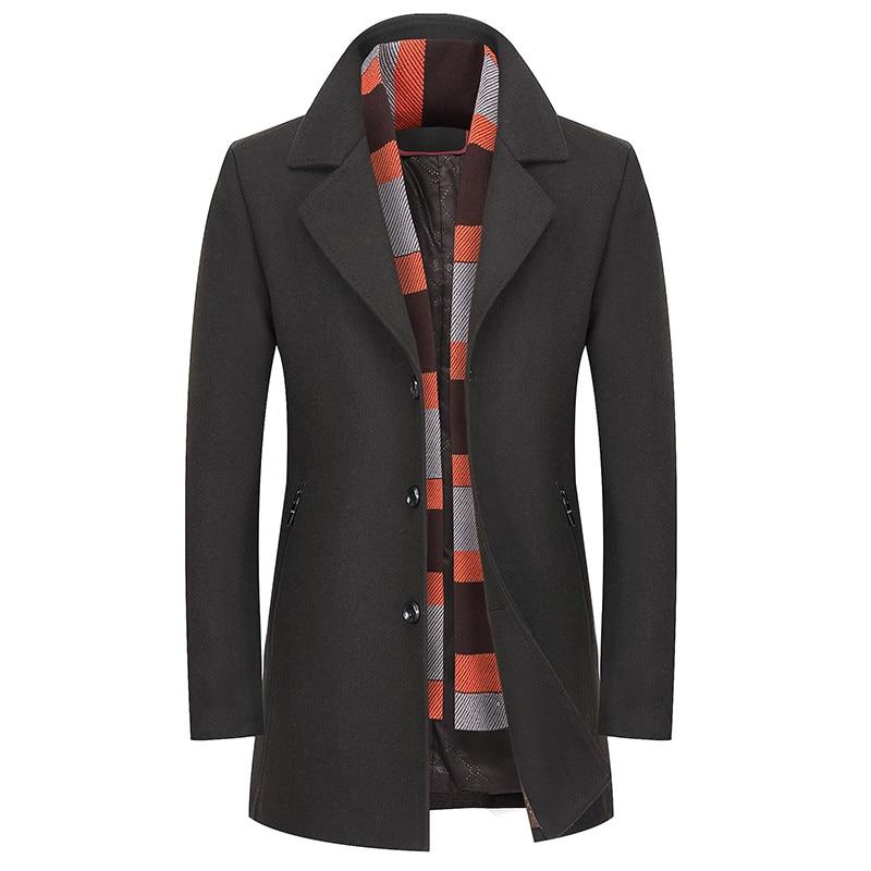 Winter men's woolen coat business casual coat warm solid jacket windbreaker Lapel design Overcoat