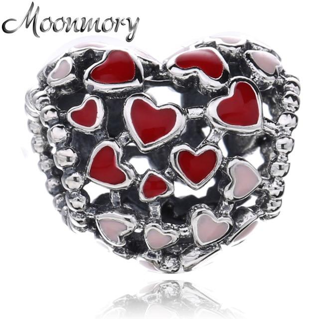 925 Sterling Silver Valentines You & I Love Heart Enamel Bead For European Charm Bracelets UjwerT