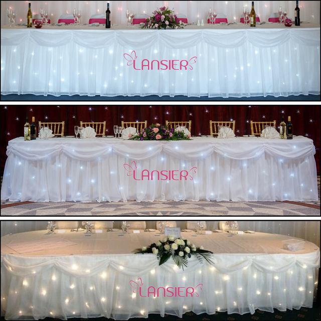 Wedding Table Skirt White Led Star Cloth Lights With Swags 0.7*6 M Long  Wedding