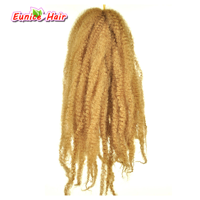 Blonde 18inch 30 Roots Afro Marley Braid Twist Hair Crochet Braids Synthetic Braiding