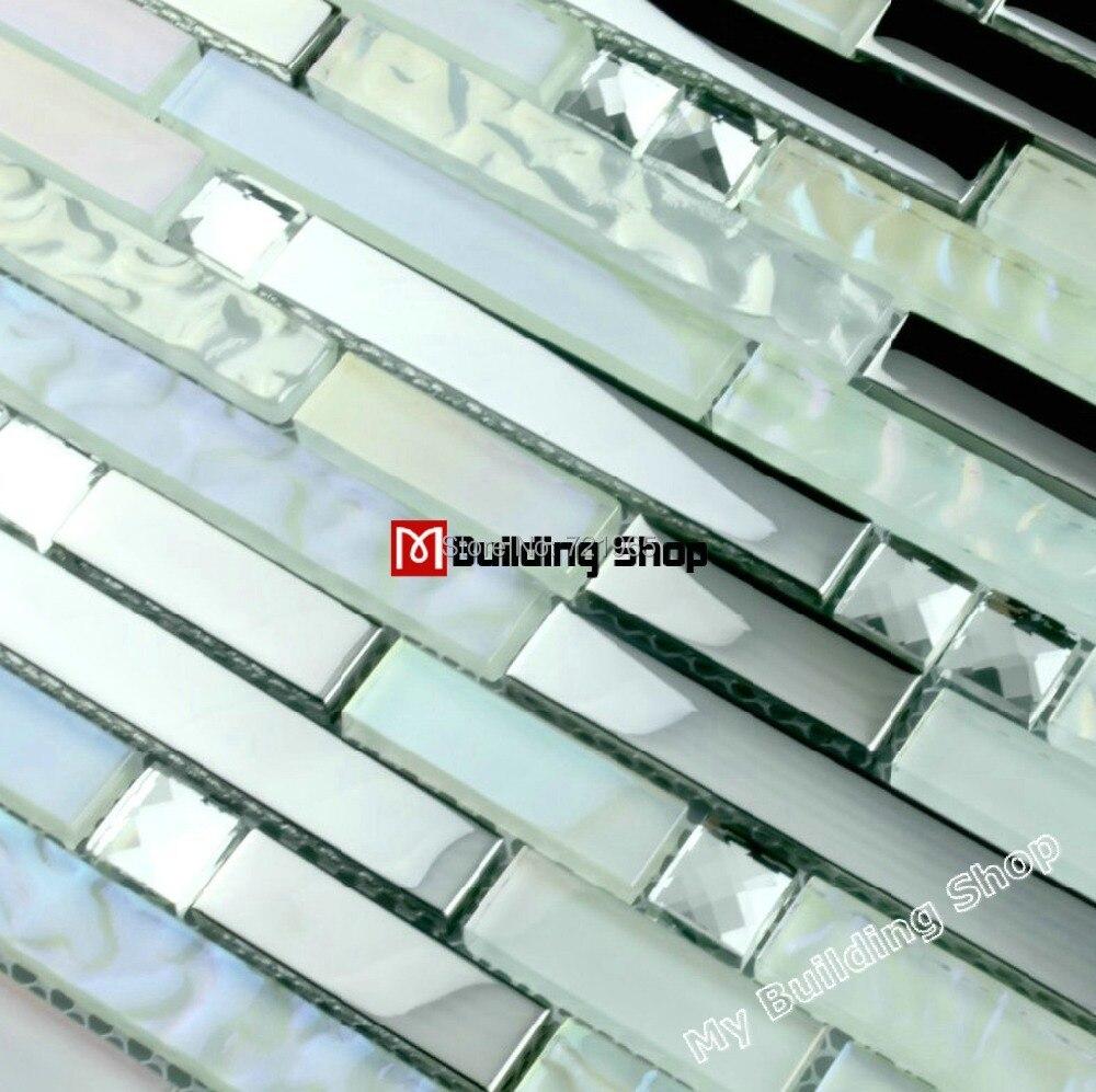 Interlocking crystal glass mosaic wall tile backsplash SSMT261 ...