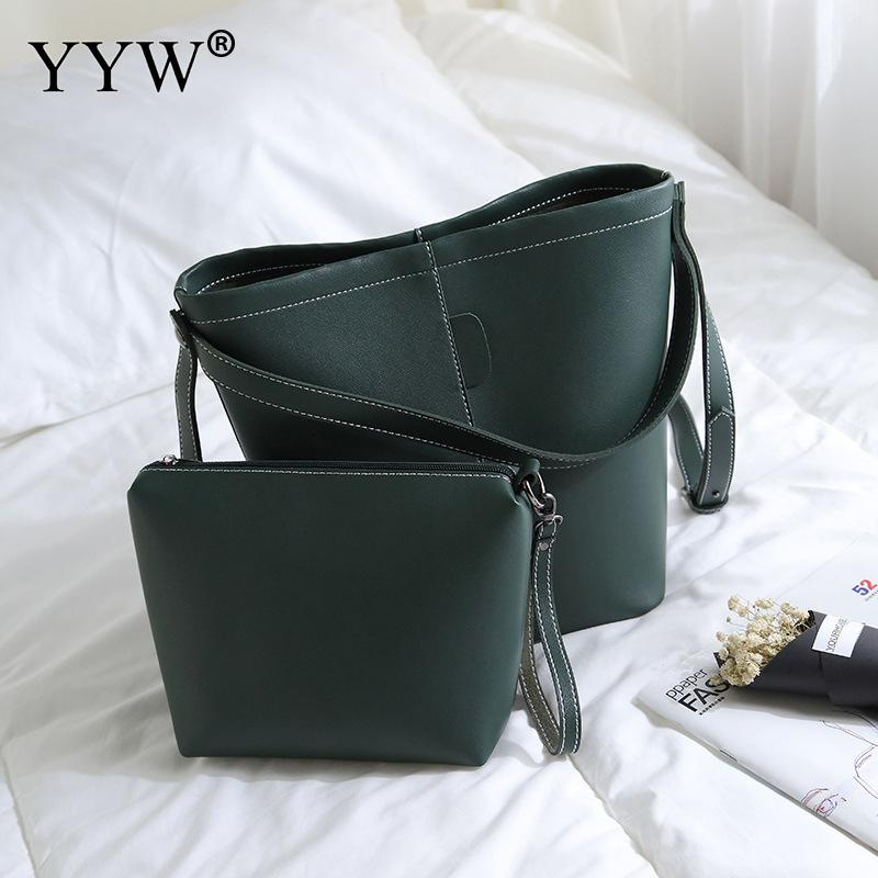 2pcs/Set Fashion Women Composite Bag Casual PU Leather Shoulder Bag Women Clutch Handbag Set Large Tote Female Shopping Bag embossed pu leather casual 3 pieces tote bag set