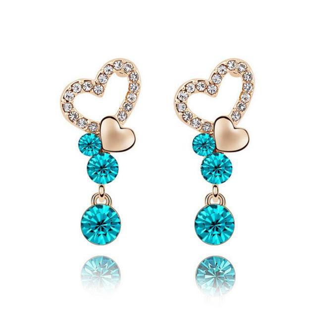 LYIYUNQ Классический Голубое Сердце Длинные Серьги Для Женщин Старинные Кристалл Воды Падение Brincos Бижутерия Кистями Серьги