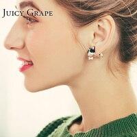 Juicy Grape Copper Plating Earring Enamel Glaze Hand Painted Dog Animal 925 Silver Ear Stud for Women