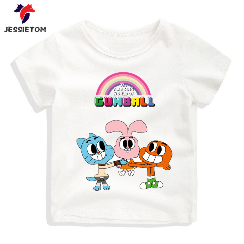 Boy and Girl Cartoon The Amazing World Of Gumball Tshirt Kid Summer Soft Kawaii Top Tee Children Funny Clothes Baby Camisetas