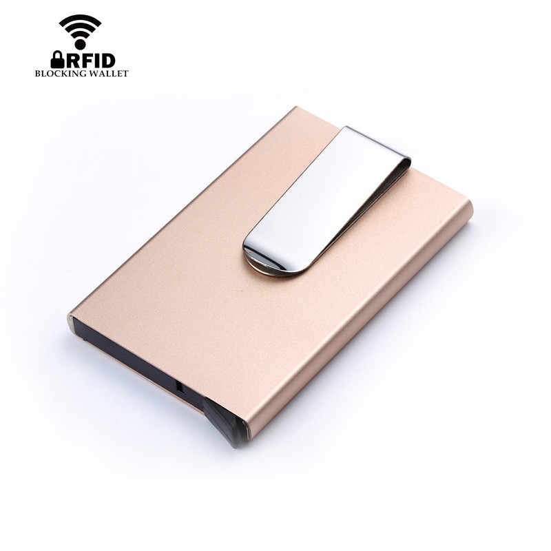 BYCOBECY 2019 Men Women Card Holder Slim Aluminum ID Credit Case Money RFID Blocking Metal Wallet Travel Mini Wallet Automatic