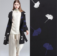 2017 NEW DIY Ginkgo Leaves Pattern Fashion Woolen Fabric For Sewing Coat Winter Garment 148cm Width