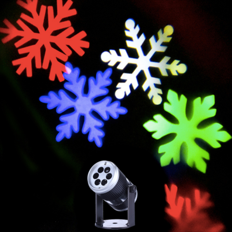 New arrival 2017 indoor snowflake led light projector, happy new years projector, mini colorful snowflake light sound control