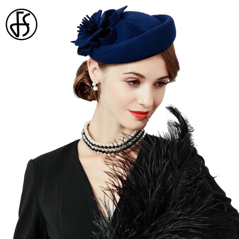 FS Fascinators pour les femmes Royal mariage élégant laine feutre Fedoras bleu noir pilulier chapeau dames chapeaux Floral Cocktail fête casquette