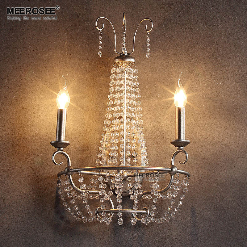 America Style Crystal Wall Light Lustres Wall Sconces Lamp Bedroom Wall Brackets Lighting Fixture 100