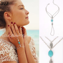 HC038 Silver Turquoise Hollow Flower Multi Chain Tassel Bracelet Bangle Slave Finger Hand Harness Jewelry