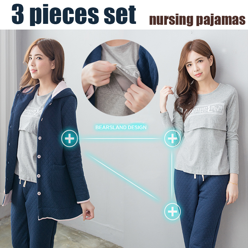 Maternity Clothes Nursing Pajama Set 3 Pieces Winter Maternty Sleepwear Breastfeeding Clothes for Pregnant Women maternity pajama hot robes autumn winter pregnant woman unisex home coral fleece pajama comfortable solid pockets women bathrobe