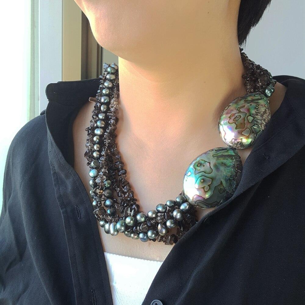 Lii Ji naturel Quartz fumé perle d'eau douce Abalone coquille Jade fermoir à la main tricot collier pour femmes bijoux de mode