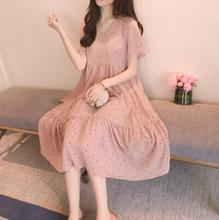 Горячая с коротким рукавом в горошек шифон с длинным одежда для беременных платья 2020 летняя мода беременность одежда для беременных женщины
