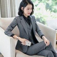 Elegant Formal Suit Women Pant Suits Office Lady Business Work Blazer Set Women's Notched Jacket Pants 2 Piece Coat Trouser 2019