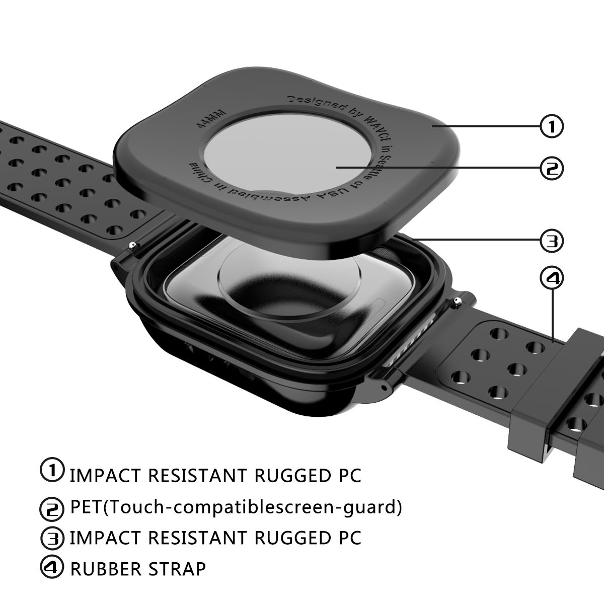 Image 5 - IP68 for Apple iWatch Series 4 40MM Waterproof Watch Case Shockproof Rugged Bumper Hybrid PC Case with Rubber Watch Strap Cover-in Fitted Cases from Cellphones & Telecommunications
