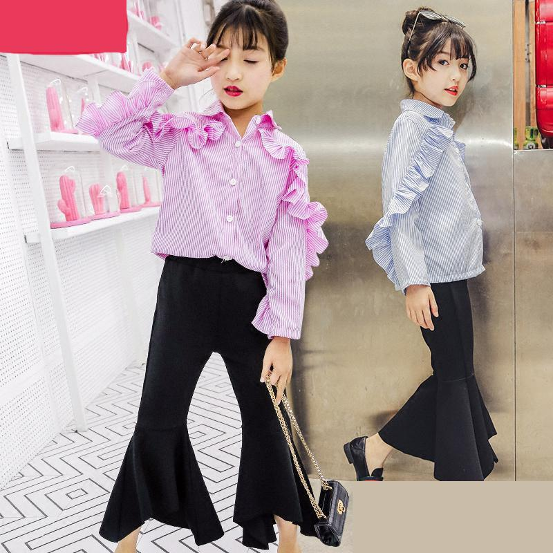 Girls Clothing Sets 2018 Spring Wear Kids Costume For 9 10 11 12 13 14 Years Long Sleeve Striped Blouses & Shirts + Flares Pants kids clothes sets for girls 4 5 6 7 8 9 10 11 12 13 14 years 2018 spring baby girl clothing long sleeve blouses skirt leggings