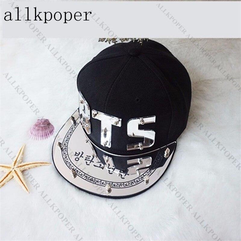 Prix pour Allkpoper kpop bts baseball cap os bangtan garçons snapback caps Cool Brillant Chapeau Bigbang FAIT GD G-Dragon iKON Or et argent