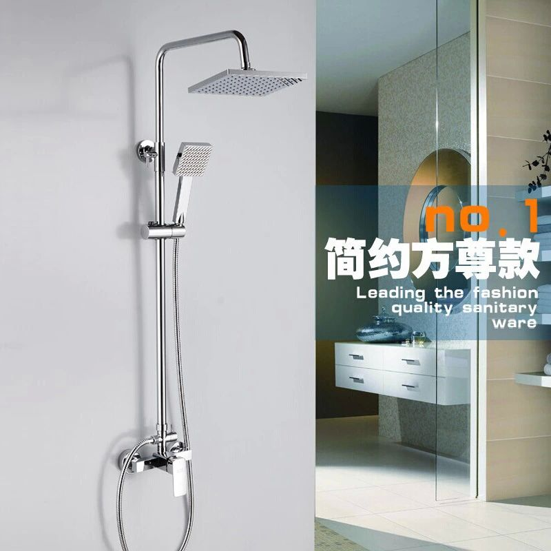 Hot and cold water bathroom rainfall shower faucet set, 118cm rod height, 20*20cm rain shower head ...