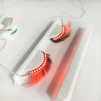 8 Colors LED Lashes Fake Eyelashes Makeup Waterproof Light Eyelashes With Controller Hair Clips Holiday Party