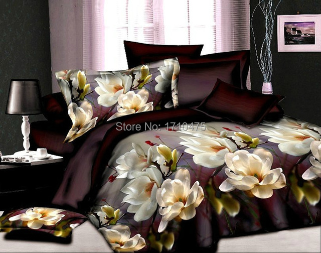 Brown Flower Printed Wholesale Price Egyptian Cotton Embroidery Bed Sheets  Made In China Bedding Set