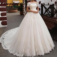 Lace Wedding Dresses Long Ball Gown Tulle Boat Neck Wedding Gowns Bridal Dress Weddingdress China On Sale vestidos de novia