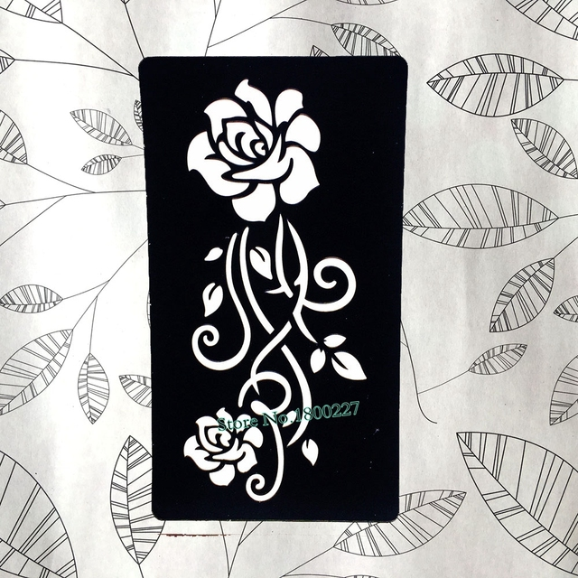 Leaf Rose Flower Henna Lace Mehndi Tattoo Template Women Body Arm