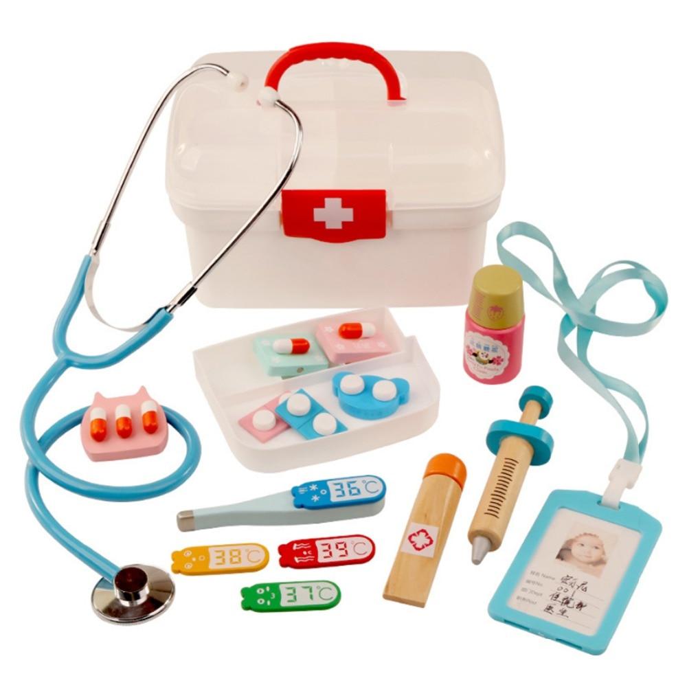 16Pcs Children Pretend Play Doctor Toys Kids Wooden Medical Kit Simulation Medicine Chest Set For Kids Interest Development Kits(China)