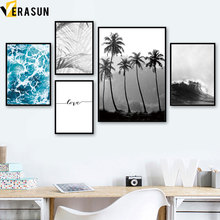 Sea Wave Coconut Tree Leaf LOVE Landscape Wall Art Canvas Painting Nordic Posters And Prints Wall Pictures For Living Room Decor цена