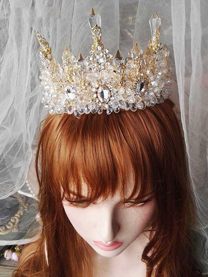Image 5 - HIMSTORY Wedding Bridal Prom Princess Clear Crystal Rhinestone Pearl Tiaras Crown Hairband Bridal  Wedding Crown Hairwear-in Hair Jewelry from Jewelry & Accessories