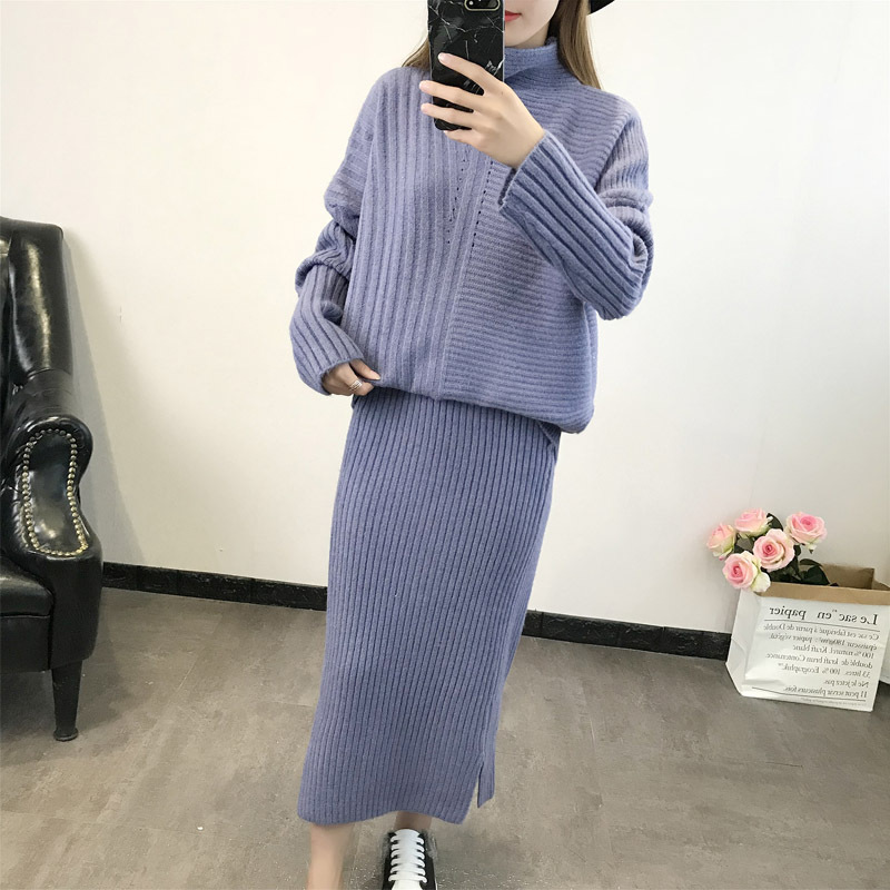 Winter Autumn Knit Vintage Fashion 2 Piece Set Loose Turtleneck Contrast Sweater Elastic Waist Split Midi Long Pencil Skirt Sexy