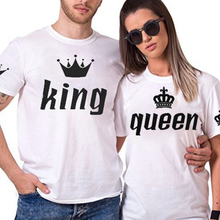 king queen couple cotton t shirt short sleeve o neck women men t shirt streetwear korean harajuku vogue White love print tee top цена